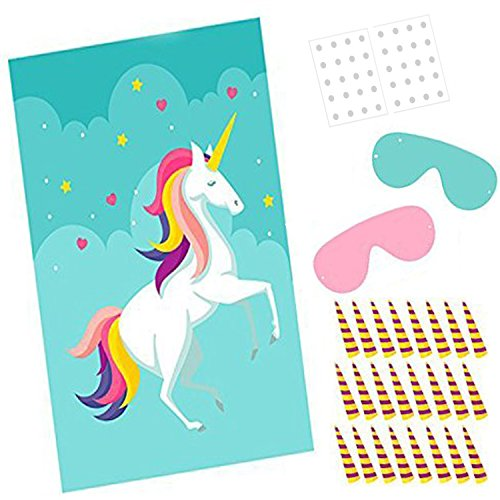 Pin The Horn On The Unicorn Birthday Party Game - Kids Birthday Party Supplies with Large Rainbow Poster & 56 Stickers