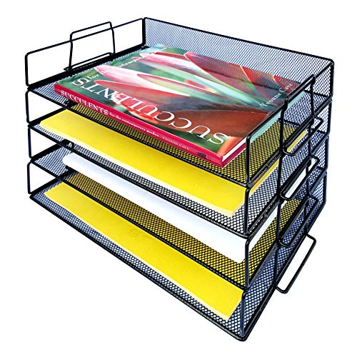 Coastal Colors 4 Tier Mesh Desk Organizer Stackable Trays to Organize Paper, Stationary, Documents, Files. Perfect Paperwork Filing and Organization Inbox for Home Office Classroom Cubicle Black ()