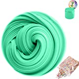 SLOUEASY - Mint Green Fluffy Slime with Foam Balls - Non-sticky Hand Jumbo Fluffy Floam Slime Putty Stress Relief Putty Slime Toy Scented Sludge Jumbo Slime for Kids Adults(7oz)