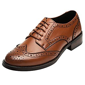 Rismart Women's Brogue Pointed Toe Wingtips Work&Wedding Dress Leather Oxfords Shoes 02372(Brown,US8.5)