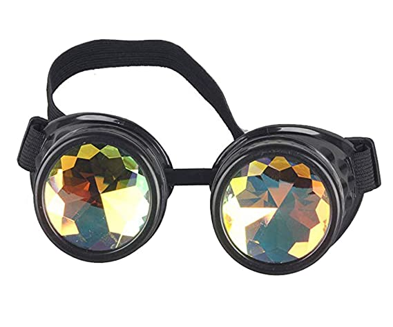 55e0c948298 Kaleidoscope Rave Goggles Steampunk Glasses with Rainbow Crystal Glass Lens  at Amazon Women s Clothing store