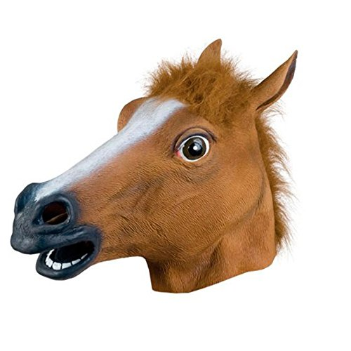 TOPQSC Horse Mask Creepy Full Head Maks Horse Head Mask Rubber Animal Mask for Halloween Masquerade Party Animal's Fur Mane Latex Realistic Crazy Halloween Costume Theater Prop for Kids and Adults
