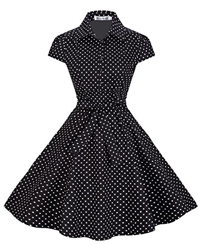 Bi.tencon Women's Black Polka Dot Belted Vintage Cocktail Party Swing Dress Cap Sleeve 2XL (Sleeve Button Front Dress)