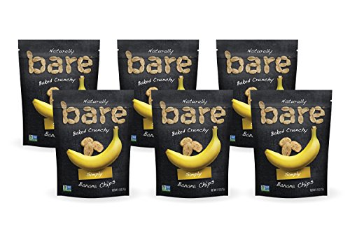 Bare Natural Banana Chips, Simply, Gluten Free + Baked, Multi Serve Bag - 2.7 Oz (6 Count) ()