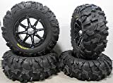 Bundle - 9 Items: MSA Black Diesel 14'' ATV Wheels 28'' Blackwater Tires [4x156 Bolt Pattern 12mmx1.5 Lug Kit]