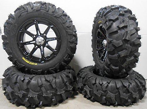 Bundle - 9 Items: MSA Black Diesel 14'' ATV Wheels 28'' Blackwater Tires [4x156 Bolt Pattern 12mmx1.5 Lug Kit] by Powersports Bundle