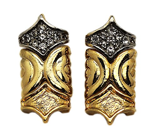 Tip Top Tiara (Diamond Tip Shaped Earrings With Stone Inlay Top Piece)