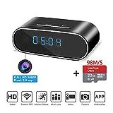 JANEDI Top Class Hidden Spy Camera Clock with 32G Store Hidden Camera Clock1080P HD WiFi Night Vision Spy Camera Motion Alarm Send SMS Notification Alarm for Phone