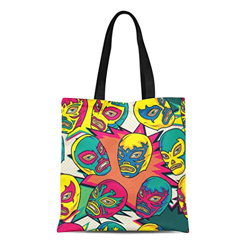 Semtomn Canvas Tote Bag Color Colorful Mexican Wrestler Luchador Pattern Pop Wrestling Latin Durable Reusable Shopping Shoulder Grocery Bag