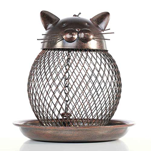 YOTATO Metal Amazing Statues & Sculptures Cat Bird Feeder Cat Shaped Vintage Outdoor Villa Garden Decoration Good Gift