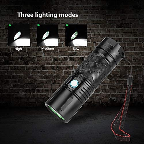 PQZATX Portable Multi-function Flashlight, 3*xhp50 Lamp Beads Aluminum Alloy Waterproof Lighting Suitable for Outdoor Activities Emergency Rescue