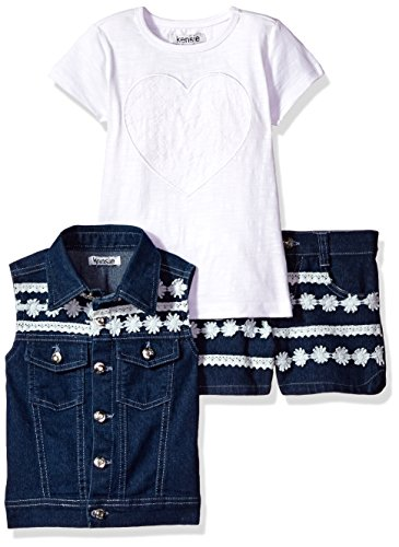 kensie Little Girls 3 Piece Lace Trimmed Vest Short and T-Shirt, Medium Blue Denim, 5 - Kensie Girl Printed