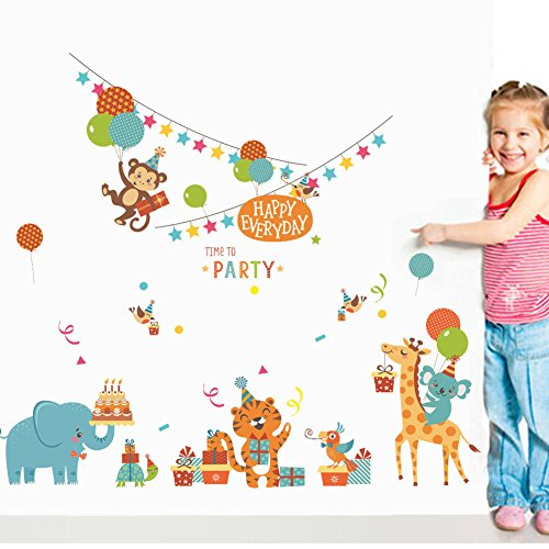 BIBITIME Jungle Animal Party Colorful Flags HAPPY EVERYDAY Quotes Sticker Balloon Monkey Cake Elephant Gift Turtle Tiger Birds Giraffe Koala Wall Decal for Nursery Decor Art Mural -