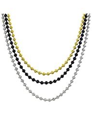 Konov Jewelry Stainless Steel Mens Womens 3pcs 3mm Bead Links Chain Necklace, Silver Gold Black, Width 3mm, with Gift Bag