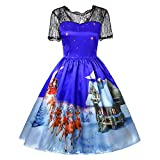 Makeupstore Christmas Women Lace Patchwork Printing Vintage Gown Party Dress