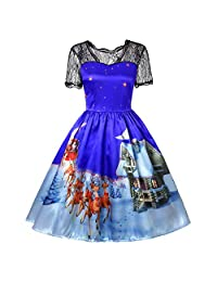 FarJing Clearance, Women Christmas Dress Lace Printing Vintage Gown Party Dress