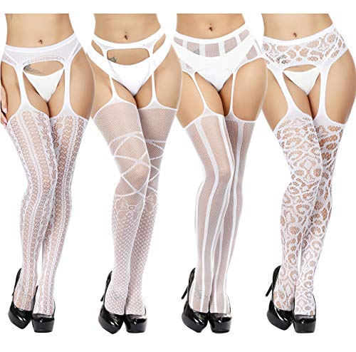 (TGD Fishnet Stockings Tights Sexy Suspender Pantyhose for Women Thigh High Stocking Colors 4 Pairs (White 5678))