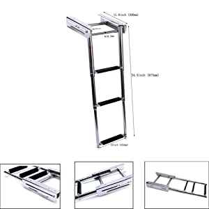 Marinebaby 3-Step Under Platform Telescoping Slide Mount Boat Boarding Ladder, Stainless Steel Marine Ladder