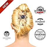 Best bun hair clip for Women - Amazing with hair extensions - fancier than bows - can be used with other hair products - best hair clips for girls - teens - beautiful set of combs - crystals - rhinestone and silver plated metal beads make this decorative
