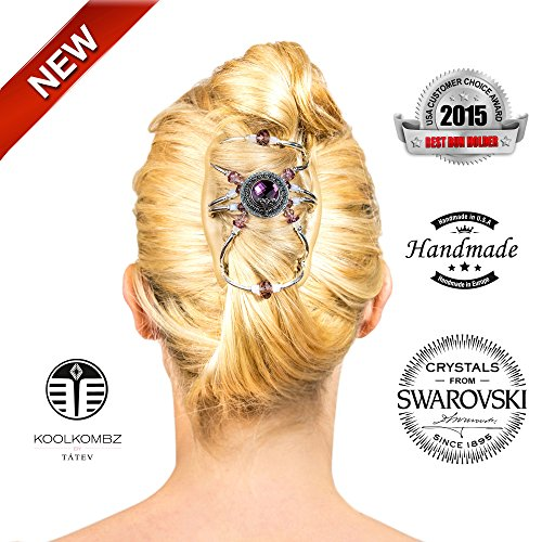 Best bun hair clip for Women - Amazing with hair extensions - fancier than bows - can be used with other hair products - best hair clips for girls - teens - beautiful set of combs - crystals - rhinestone and silver plated metal beads make this decorative  by KOOL KOMBZ