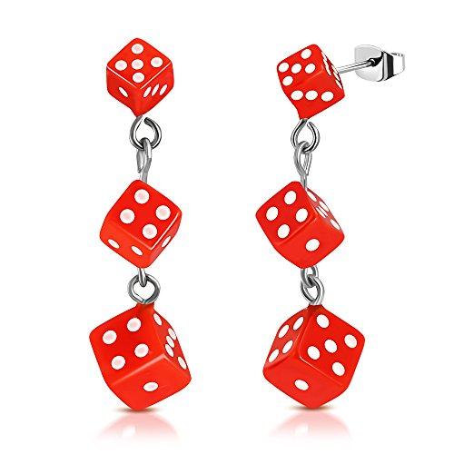 Stainless Steel 3-tone w/ Resin Orange Cube Dice Long Drop Stud Earrings (pair) - TTE418