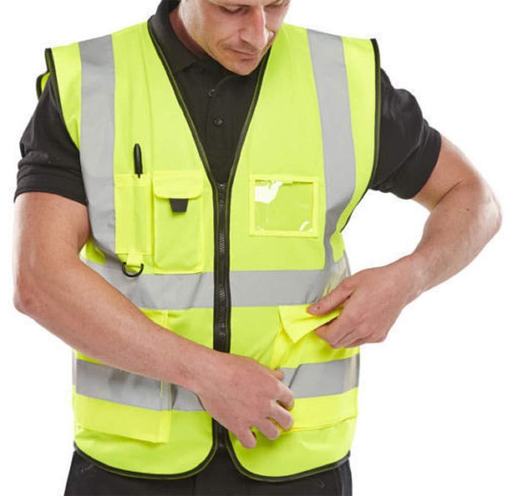 Hi Viz Executive Work Safety Zip Vest Pocket Hi Vis Waistcoat High Visibility S-5XL