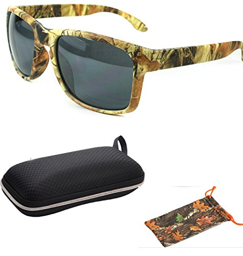 Camouflage Fishing Forest Outdoor Camo Hunting Unique Style Men Women Sports Wrap Sunglasses Eyewear Shades with Free Pouch