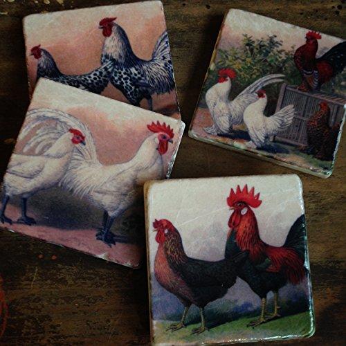 Chickens - farmhouse stone coaster set