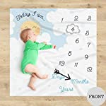 Double-Sided-Monthly-Baby-Milestone-Blanket-Month-Blanket-for-Baby-Pictures-Photo-Blanket-with-Baby-Photo-Props-Monthly-Blankets-for-Newborns-Boy-and-Girl-Milestone-Blanket-White-Grey-Blue