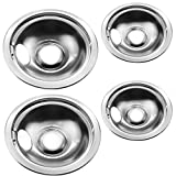 "Stainless Drip Pan Set Replacement for Frigidaire Kenmore 316048413 316048414 With 6"" and 8''"