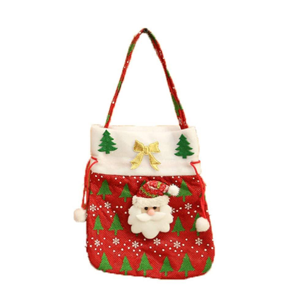 Iusun Christmas Santa Claus Snowman Hang Gift Bag Candy Bags Xmas Cartoon Pattern for Shopping Mechandise Party Home Decor Supplies Gift (C)