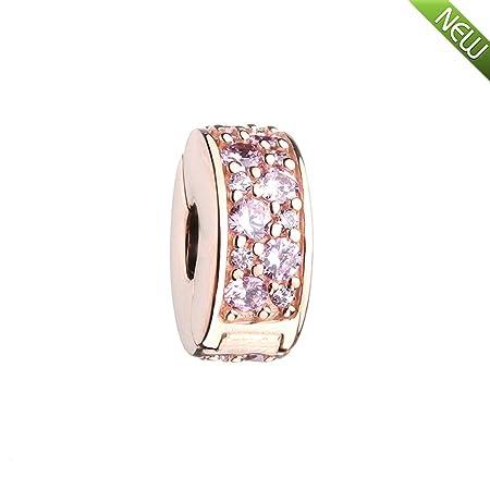 f07ba155e PANDOCCI 2017 New Autumn Rose Gold Shining Elegance Clip Pink CZ Beads 925  Sterling Silver DIY Fits for Original Pandora Bracelets Charm Jewelry: ...