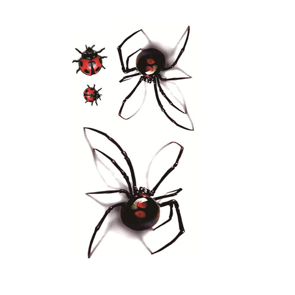 5Pcs Spider Temporary Tattoos for Women Girls Realistic Waterproof Tattoos Stickers Removable Non-toxic Body Art Arm Fake Tattoos Men Women Party Favors - 3D Insects Pattern (Black)