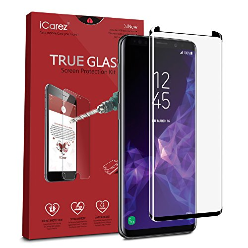 iCarez [Full Coverage Black Glass ] 3D Curved Screen Protector for Samsung Galaxy S9 Plus S9+ (Case Friendly) Easy Install [ 1-Pack 0.33MM 9H ] with Lifetime Replacement Warranty
