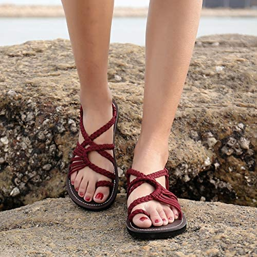EAST LANDER Flat Sandals for Women Braided Strap Beach Shoes