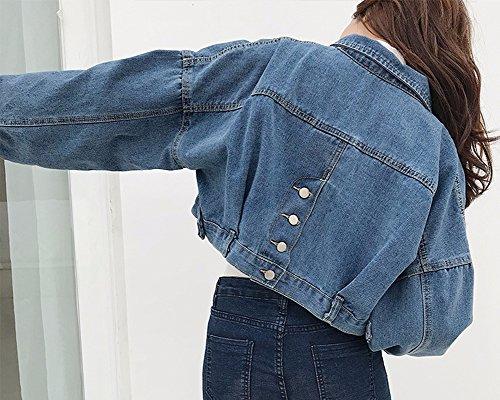 Casual Marino Blu Giacca Denim Di Lunga Corto Giubbotto Jeans Cropped Donna Manica Oq1d7d