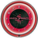 NBA Houston Rockets Chrome Double Ring Neon Clock, 14''