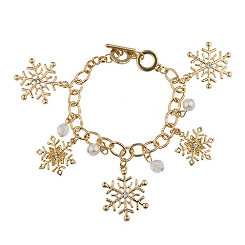 Lux Accessories Gold Tone Holiday Wonderland Snowflake Casted Charm Bracelet