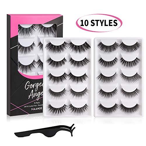 (MAANGE Eyelashes 10 Styles False Eyelashes Resuable Handmade 3D&5D Lashes Natural Fake Eyelashes Long and Soft False Lashes with Free EyeLash Tweezers - 10 Pairs)