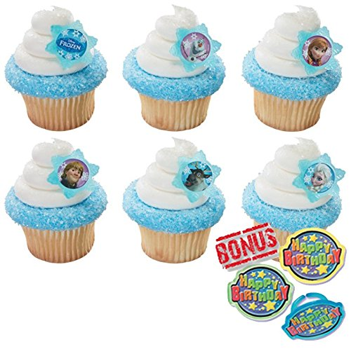 (Disney Frozen Adventure Friends Cupcake Toppers and Bonus Birthday Ring - 25 piece)