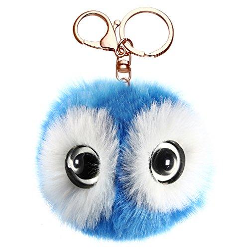 HENGSONG Cartoon Panada Big Eye Keychain Handbag Key Ring Car Key (Blue 1)