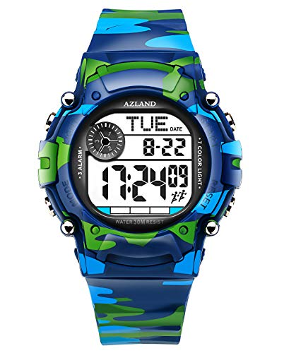 AZLAND 7 Colors Flashing, Multiple Alarms Reminder Sports Kids Wristwatch Waterproof Boys Girls Digital Watches Camo, for Age 4-12