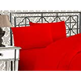 Elegant Comfort Egyptian Quality 4-Piece Bed Sheet Sets with Deep Pockets, Queen, Red