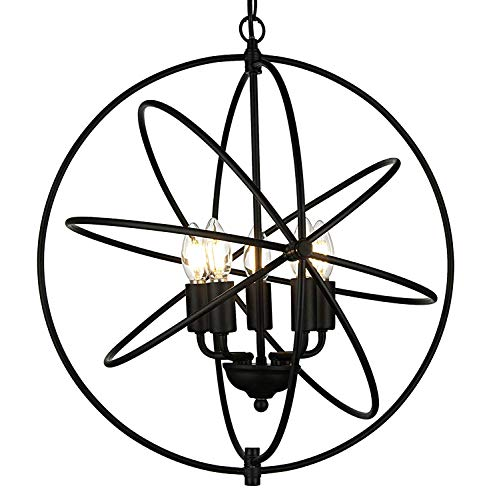 - Riomasee Rustic Foyer Chandelier 5 Lights Indoor Pendant Lighting Black Metal Globe Chandelier Industrial Vintage Sphere Hanging Light Fixture for Dining Room Farmhouse Loft D19.7