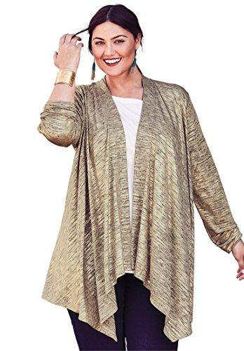 - Jessica London Women's Plus Size Metallic Knit Cardigan Gold,14/16