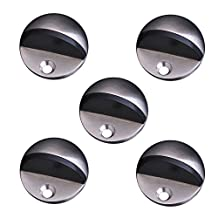Mellewell Round Door Stop Safety Door Holder Doorstop, 1.57-Inch Wide and 0.9-Inch High, Stainless Steel Brushed Finish, 5 Pack, 08005DS