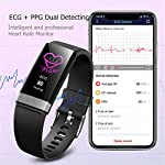 V19 HR ECG+PPG Dual Heart Rate Monitor Waterproof Bluetooth Fitness Activity Tracker with HRV SpO2 Blood Pressure Sleep health Monitor Steps Calories Counter Smart Watch Touch Screen Long Battery Life