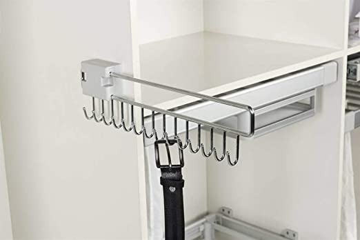 "12/"" 5 Hook Professional Satin Nickel Steel Sliding Belt Rack"