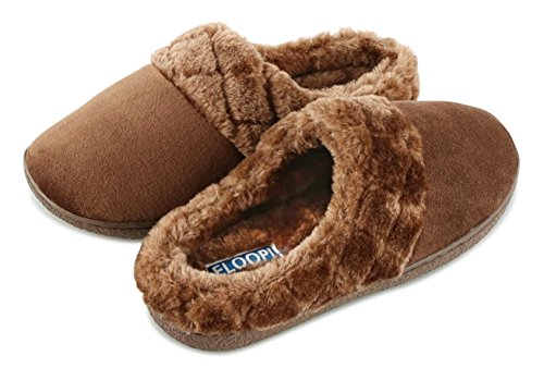 Floopi Womens Indoor Outdoor Soft Velour Quilted Fur Lined Clog Slipper W/Memory Foam (L, Brown-304)