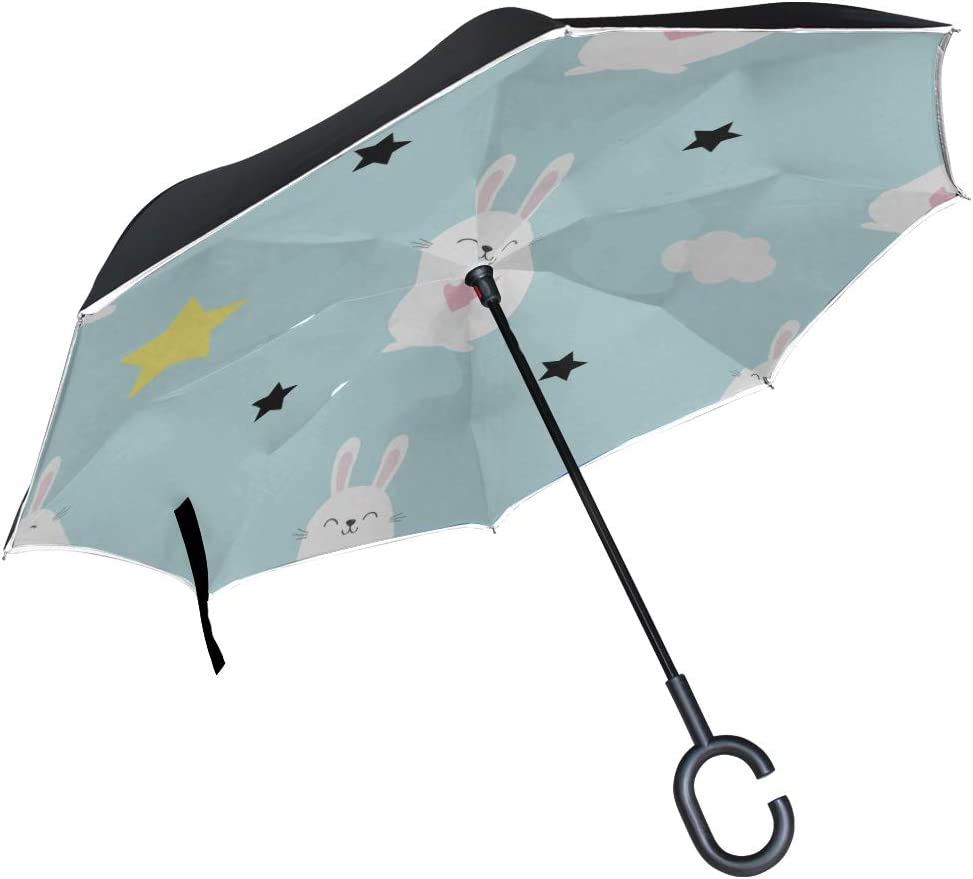 Double Layer Inverted Inverted Umbrella Is Light And Sturdy Rabbit Hare Head Heart Reverse Umbrella And Windproof Umbrella Edge Night Reflection